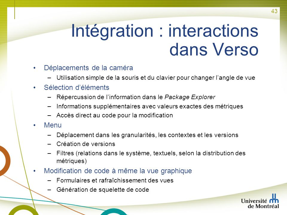 Intégration : interactions dans Verso