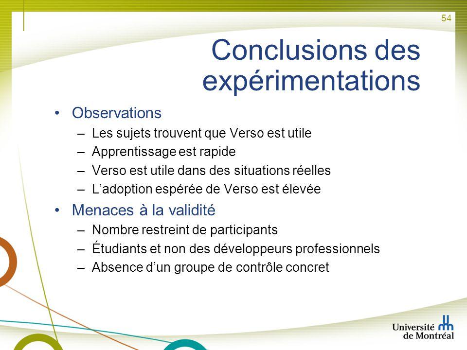 Conclusions des expérimentations