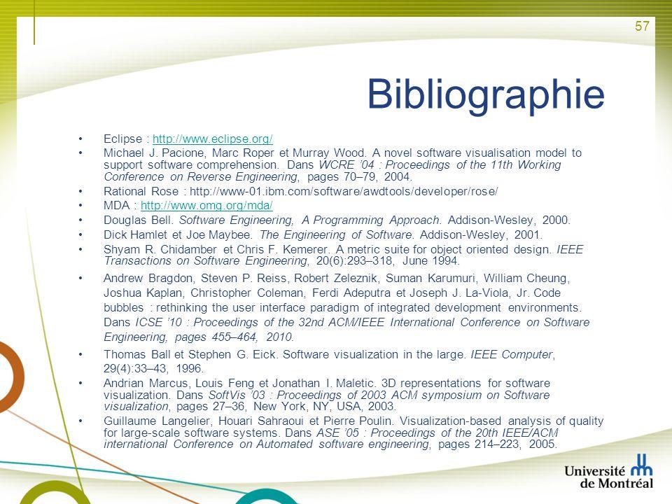 Bibliographie Eclipse : http://www.eclipse.org/