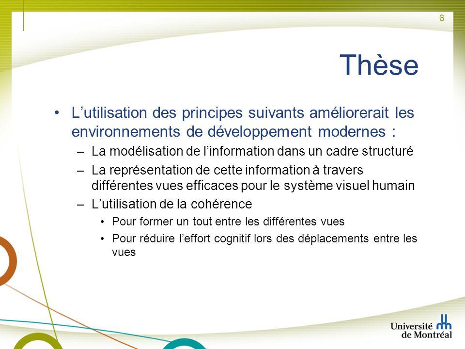 Thèse L'utilisation des principes suivants améliorerait les environnements de développement modernes :