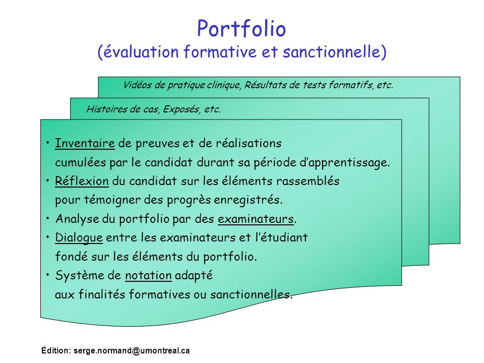 Portfolio (évaluation formative et sanctionnelle)