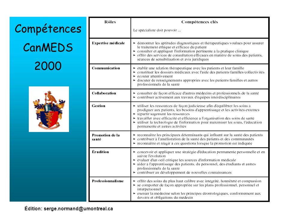 Compétences CanMEDS 2000 Édition: serge.normand@umontreal.ca