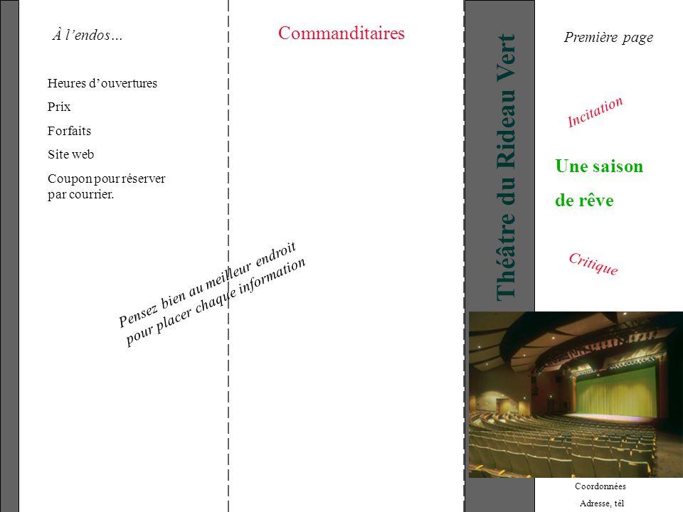 Théâtre du Rideau Vert Commanditaires Une saison de rêve À l'endos…