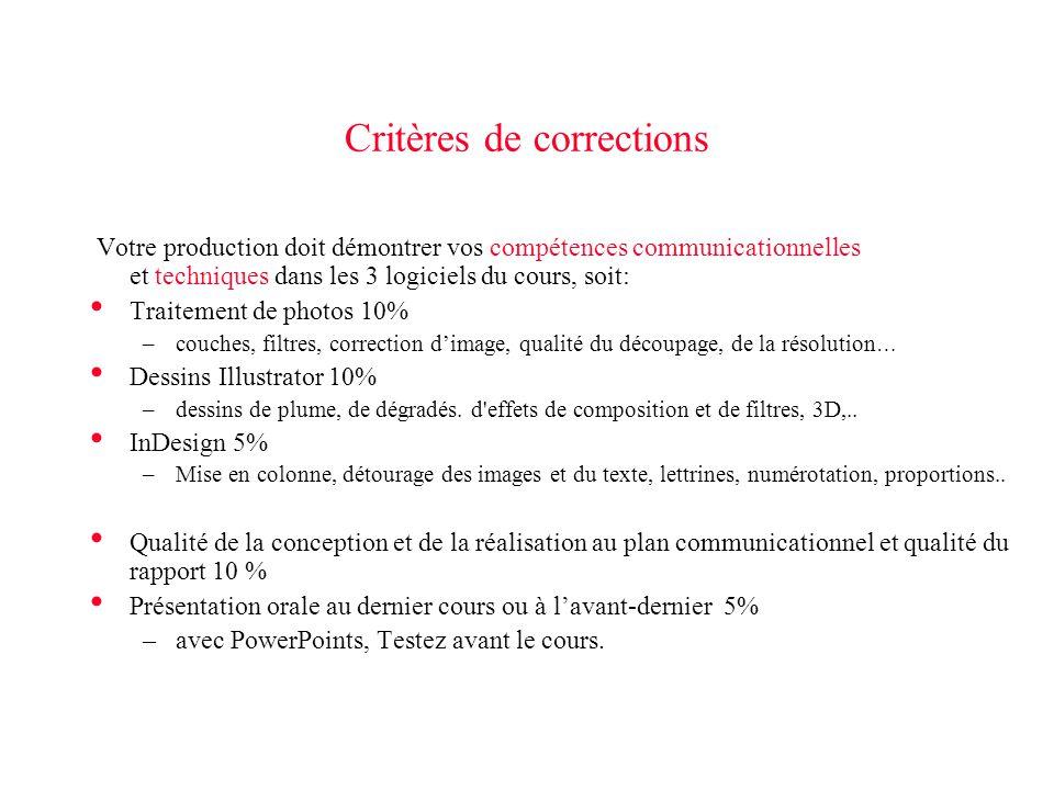 Critères de corrections