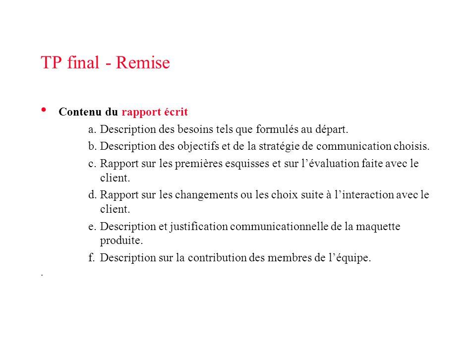 TP final - Remise Contenu du rapport écrit