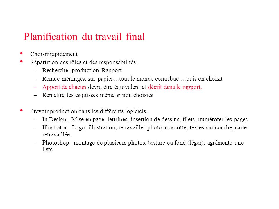 Planification du travail final