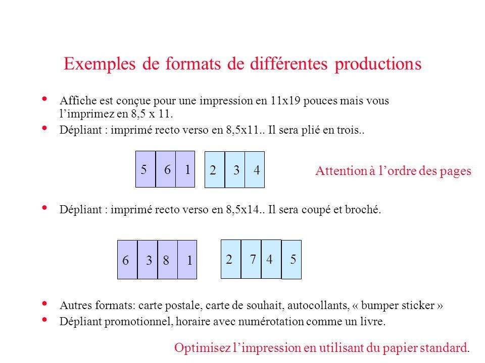 Exemples de formats de différentes productions