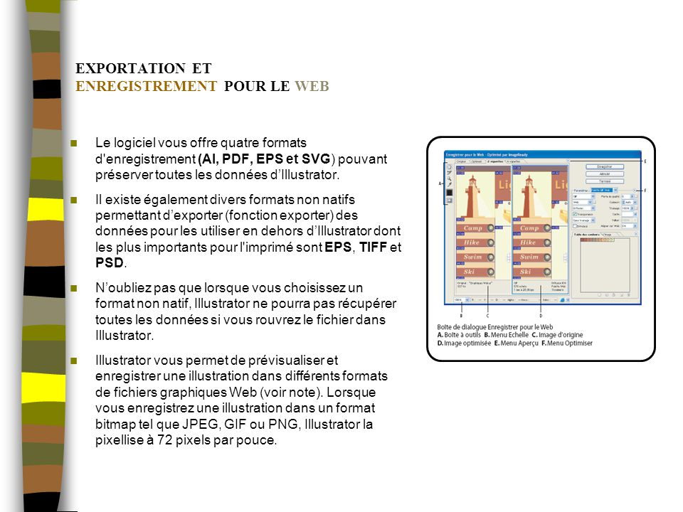 EXPORTATION ET ENREGISTREMENT POUR LE WEB