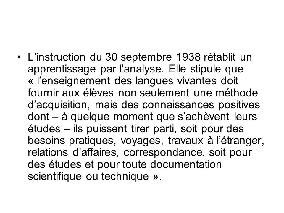L'instruction du 30 septembre 1938 rétablit un apprentissage par l'analyse.