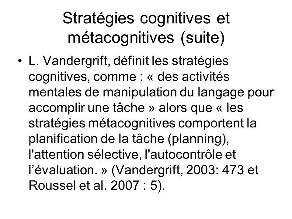 Stratégies cognitives et métacognitives (suite)