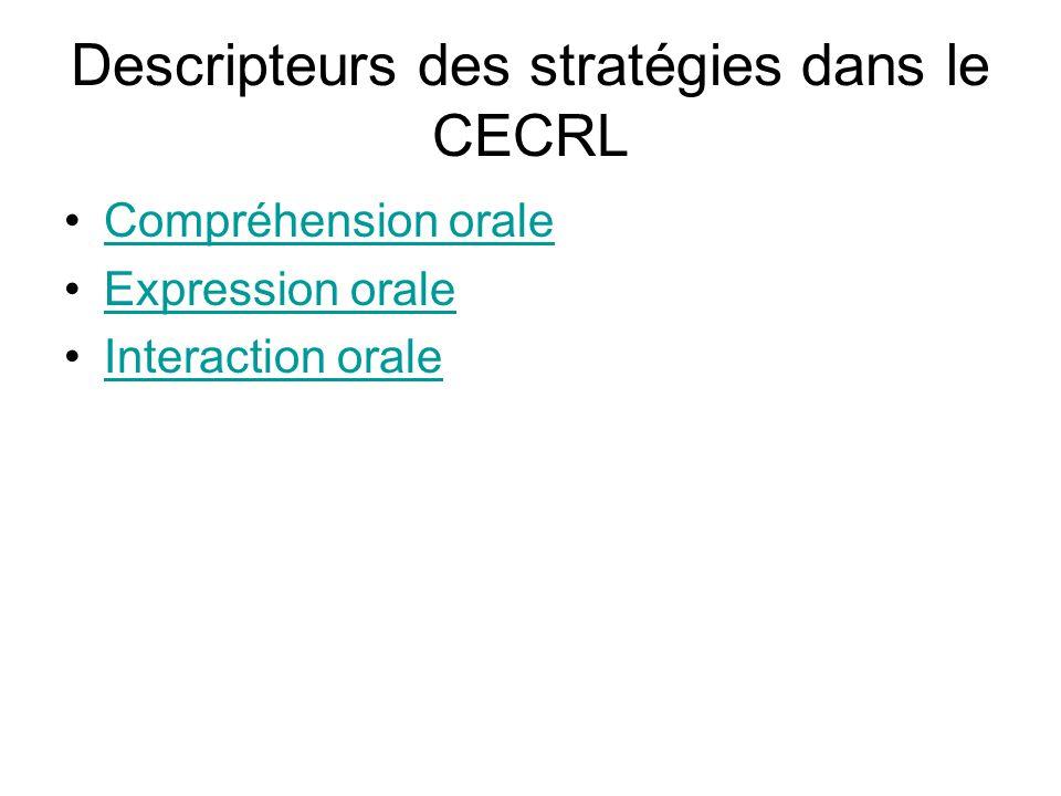 Descripteurs des stratégies dans le CECRL