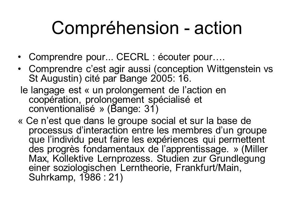 Compréhension - action
