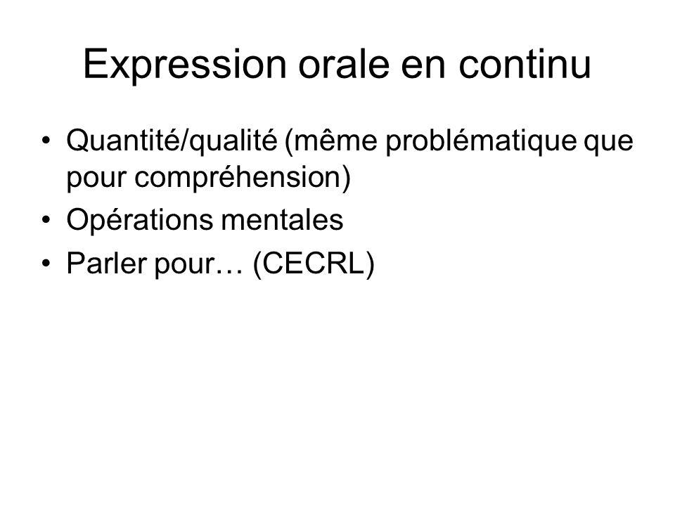 Expression orale en continu