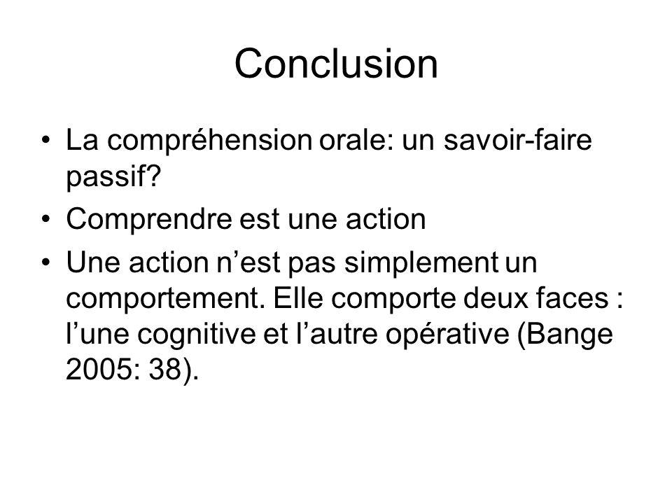 Conclusion La compréhension orale: un savoir-faire passif