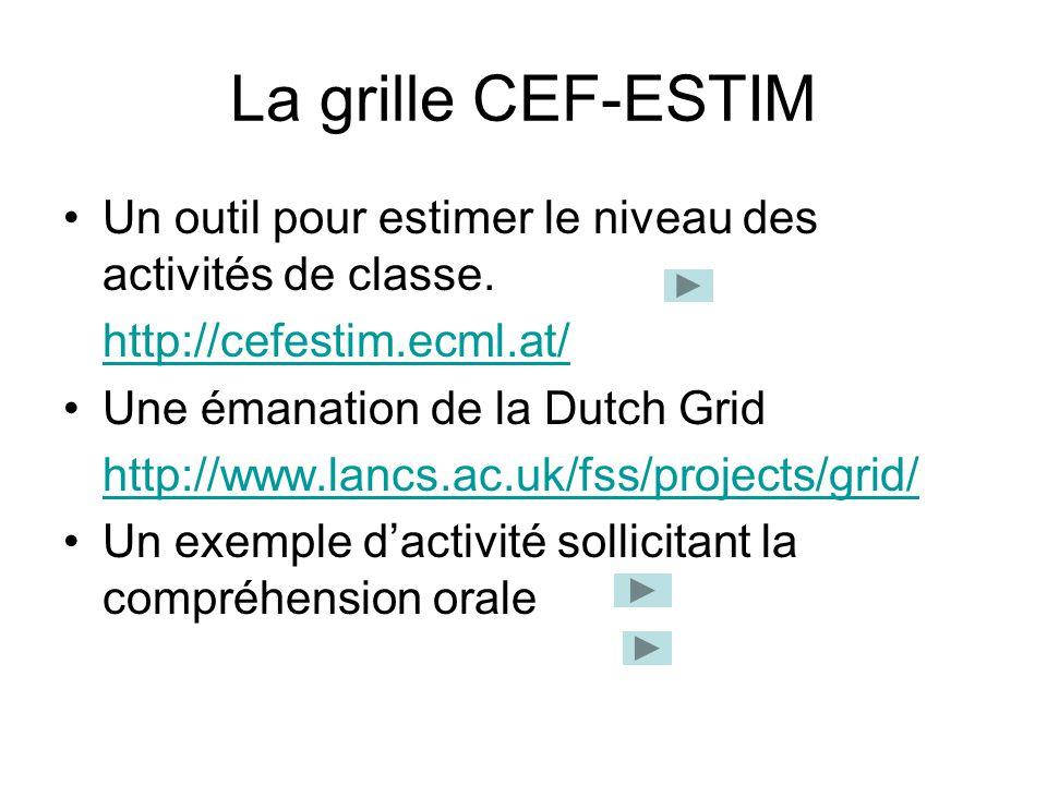 La grille CEF-ESTIM Un outil pour estimer le niveau des activités de classe. http://cefestim.ecml.at/