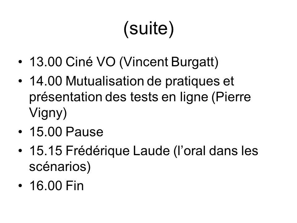 (suite) 13.00 Ciné VO (Vincent Burgatt)