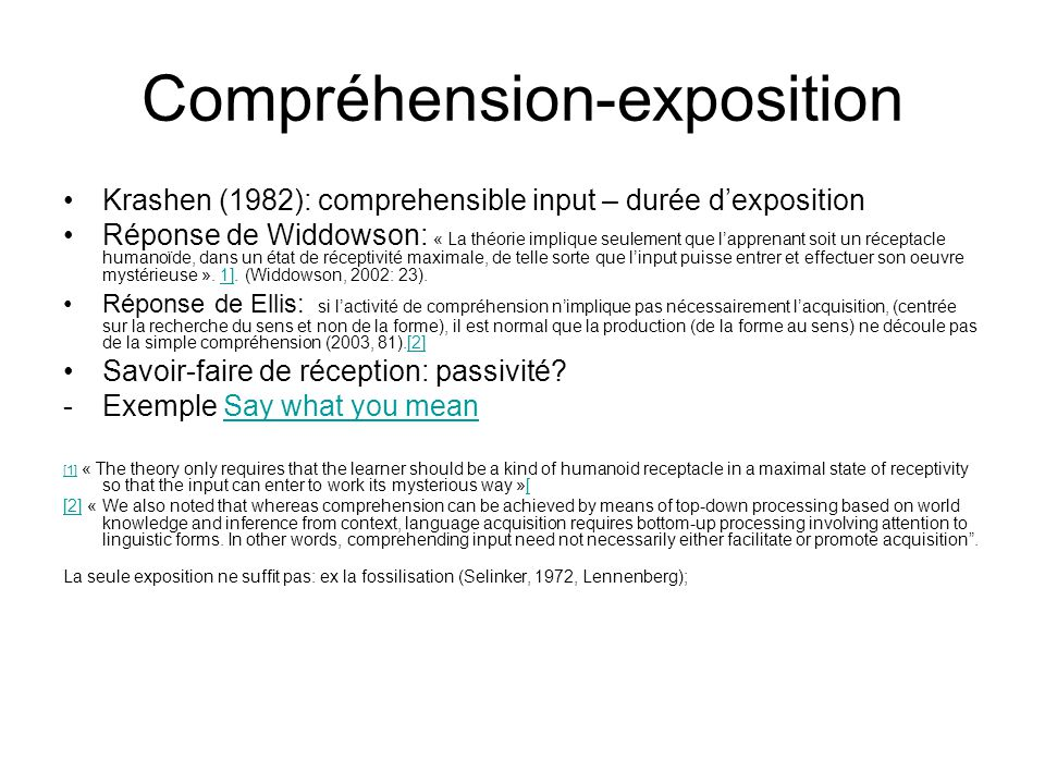 Compréhension-exposition