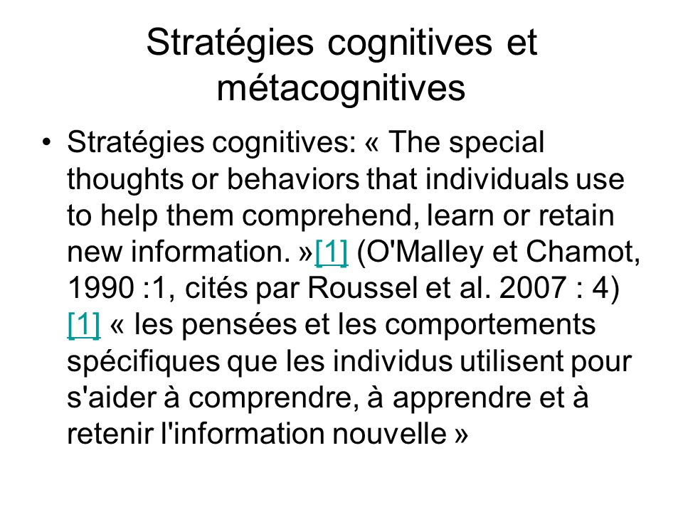 Stratégies cognitives et métacognitives