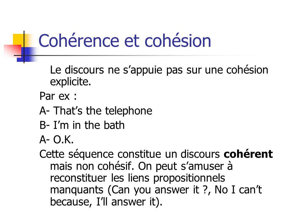 Cohérence et cohésion Le discours ne s'appuie pas sur une cohésion explicite. Par ex : A- That's the telephone.