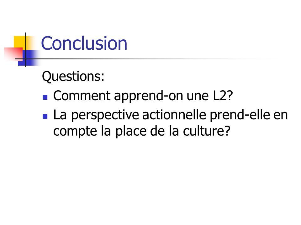 Conclusion Questions: Comment apprend-on une L2