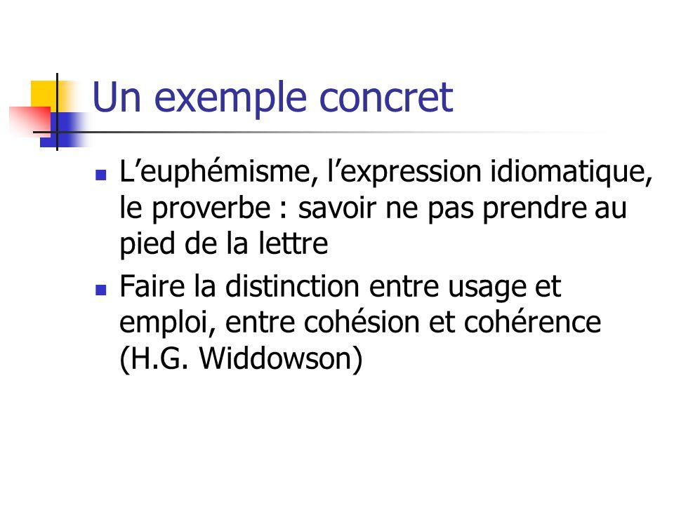 Un exemple concret L'euphémisme, l'expression idiomatique, le proverbe : savoir ne pas prendre au pied de la lettre.