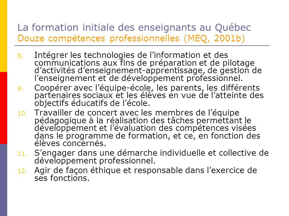 La formation initiale des enseignants au Québec Douze compétences professionnelles (MEQ, 2001b)