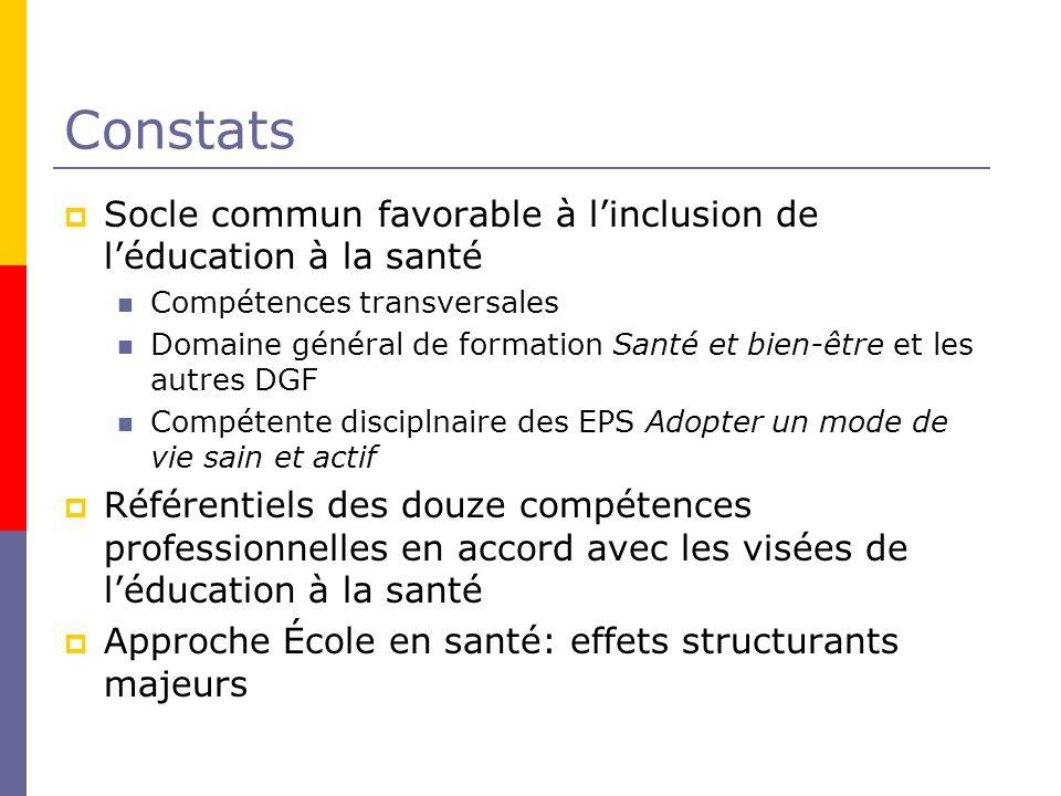 Constats Socle commun favorable à l'inclusion de l'éducation à la santé. Compétences transversales.