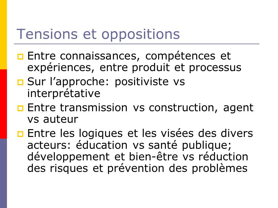 Tensions et oppositions