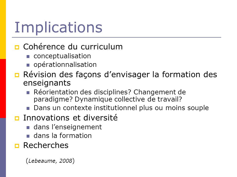 Implications Cohérence du curriculum