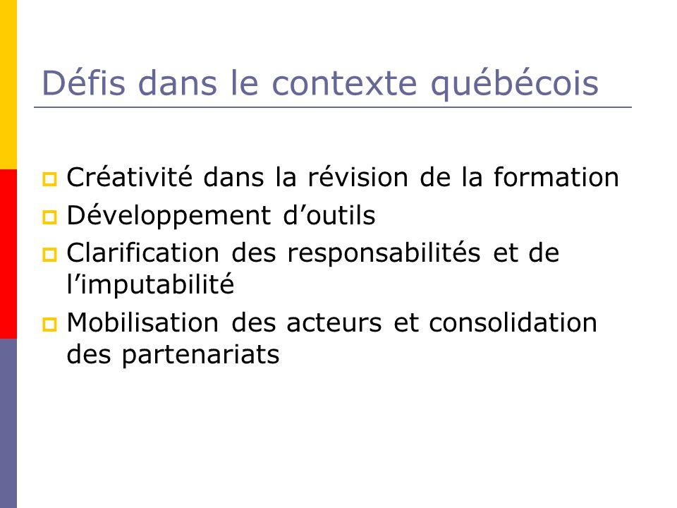 Défis dans le contexte québécois