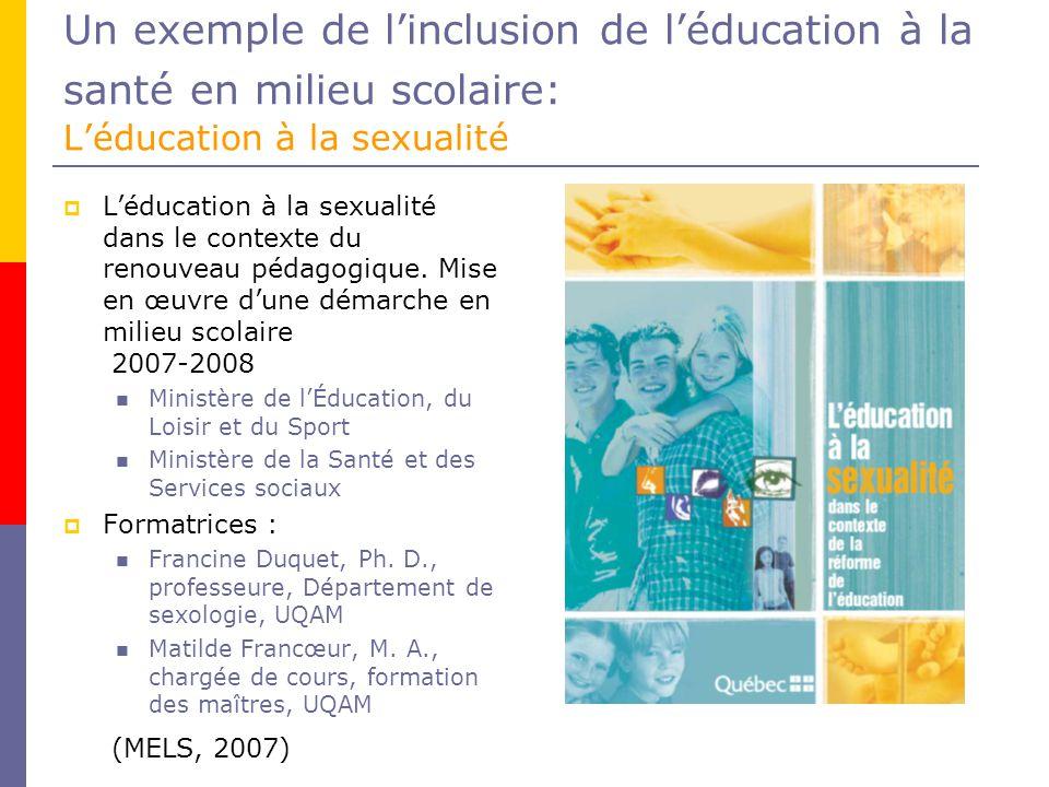 Un exemple de l'inclusion de l'éducation à la santé en milieu scolaire: L'éducation à la sexualité