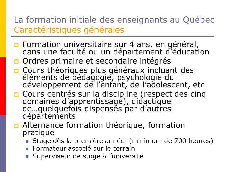 La formation initiale des enseignants au Québec Caractéristiques générales