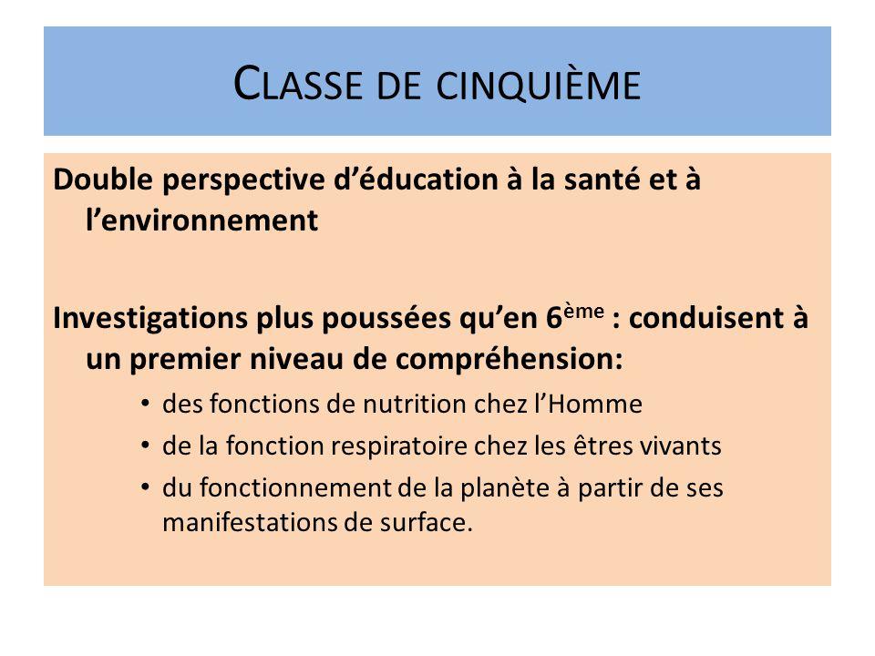 Classe de cinquième Double perspective d'éducation à la santé et à l'environnement.