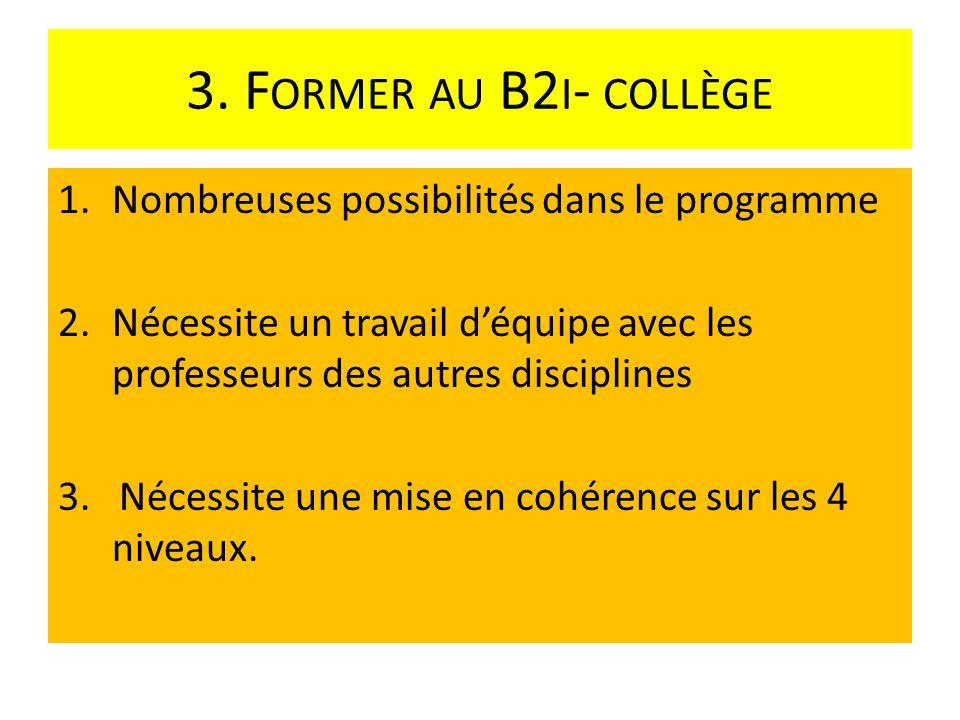 3. Former au B2i- collège Nombreuses possibilités dans le programme