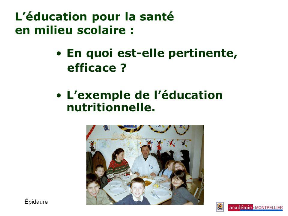 L'éducation pour la santé en milieu scolaire :