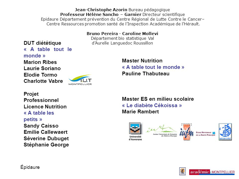 Projet Professionnel Licence Nutrition