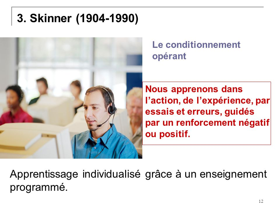 3. Skinner (1904-1990) Le conditionnement opérant.
