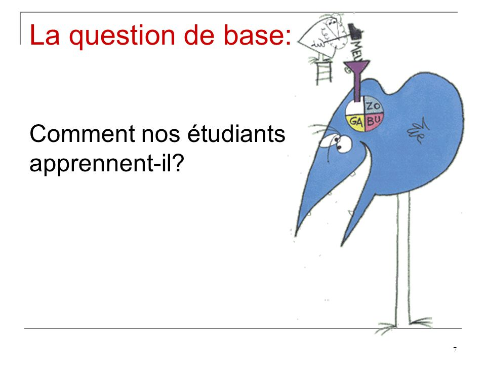 La question de base: Comment nos étudiants apprennent-il