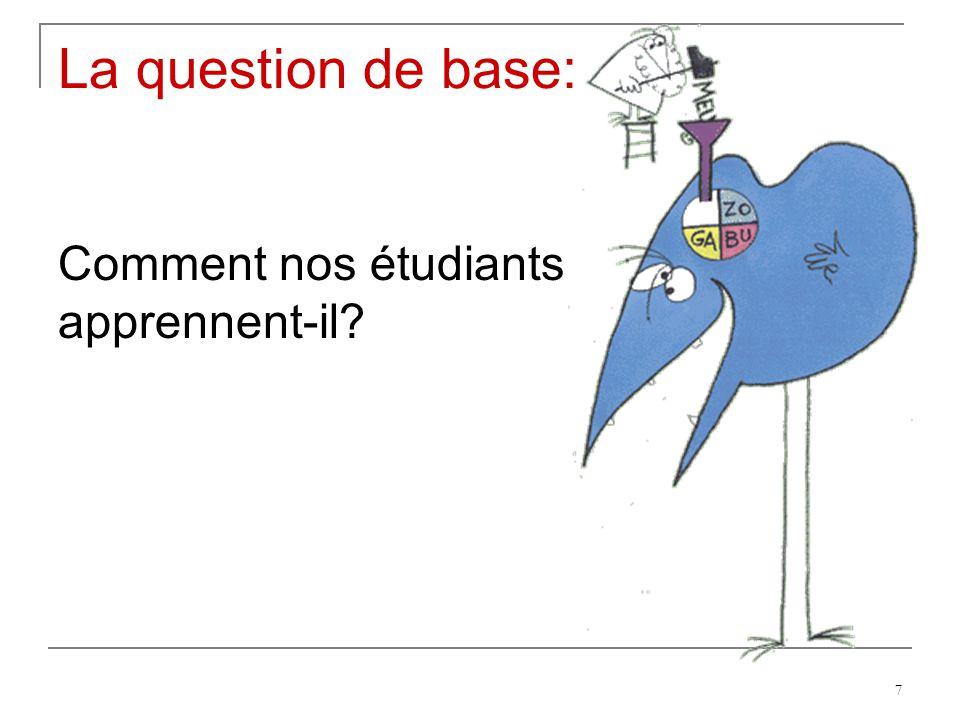 La question de base: Comment nos étudiants apprennent-il