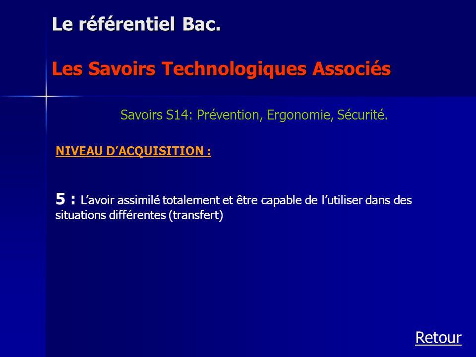 Savoirs S14: Prévention, Ergonomie, Sécurité.