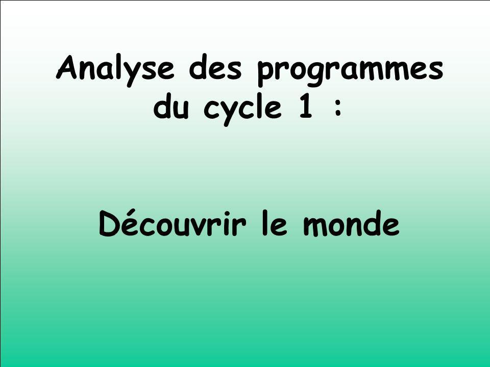 Analyse des programmes du cycle 1 :