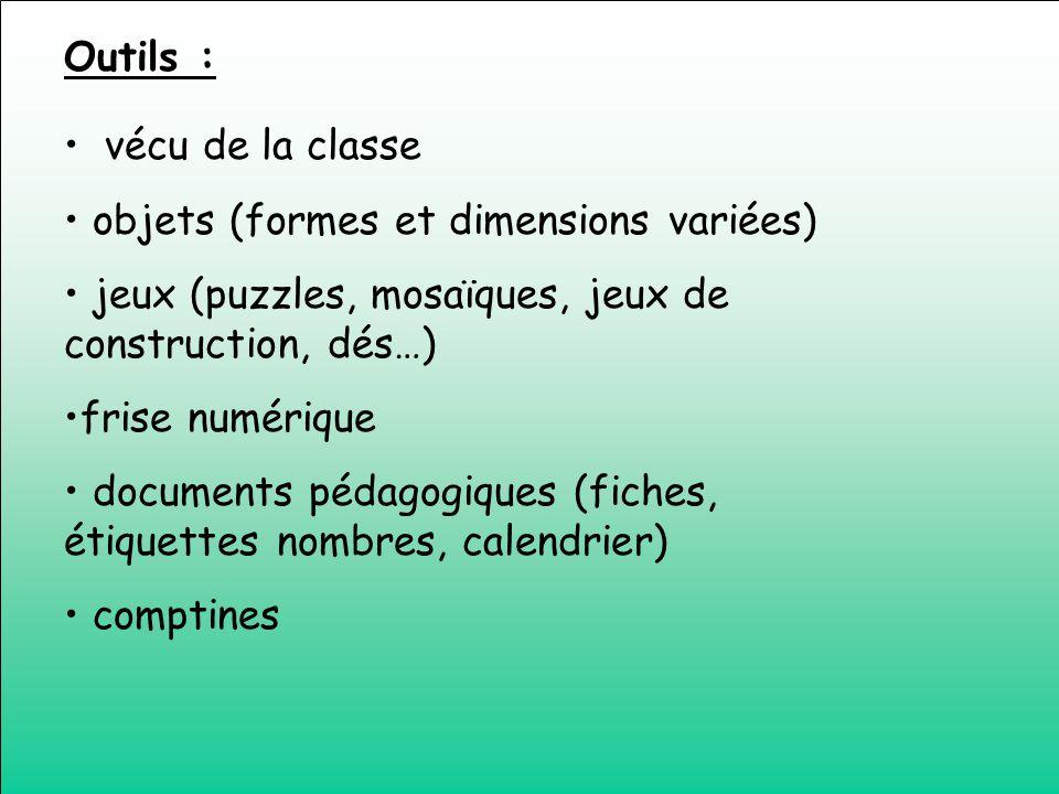 Outils : vécu de la classe. objets (formes et dimensions variées) jeux (puzzles, mosaïques, jeux de construction, dés…)