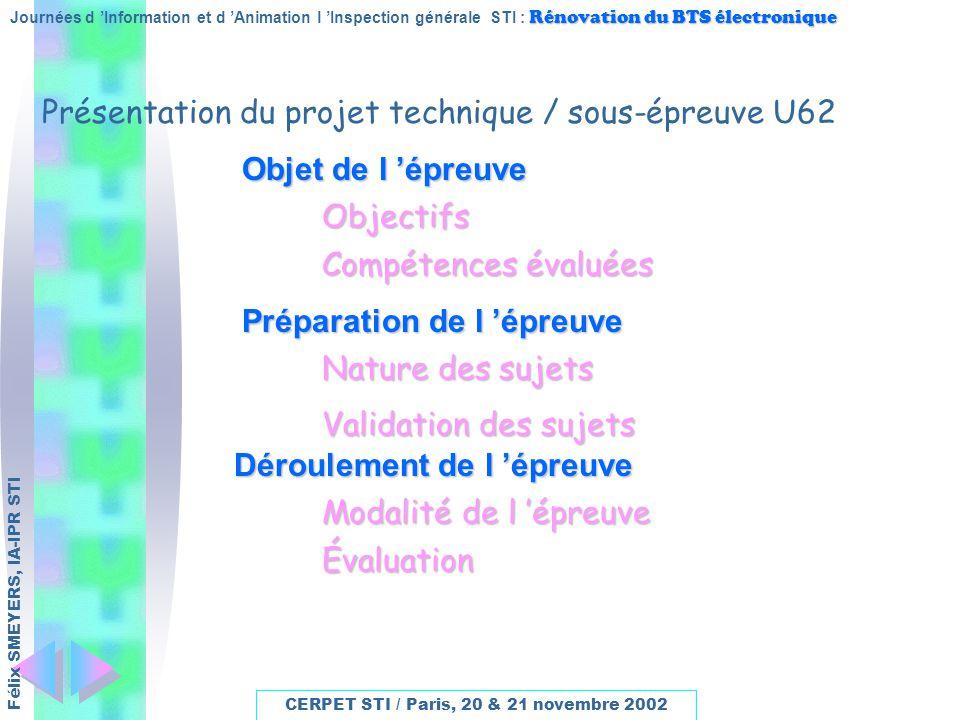 Présentation du projet technique / sous-épreuve U62