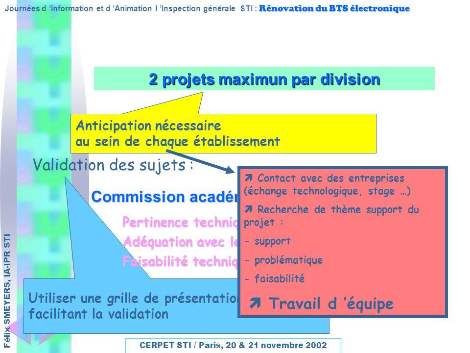 2 projets maximun par division