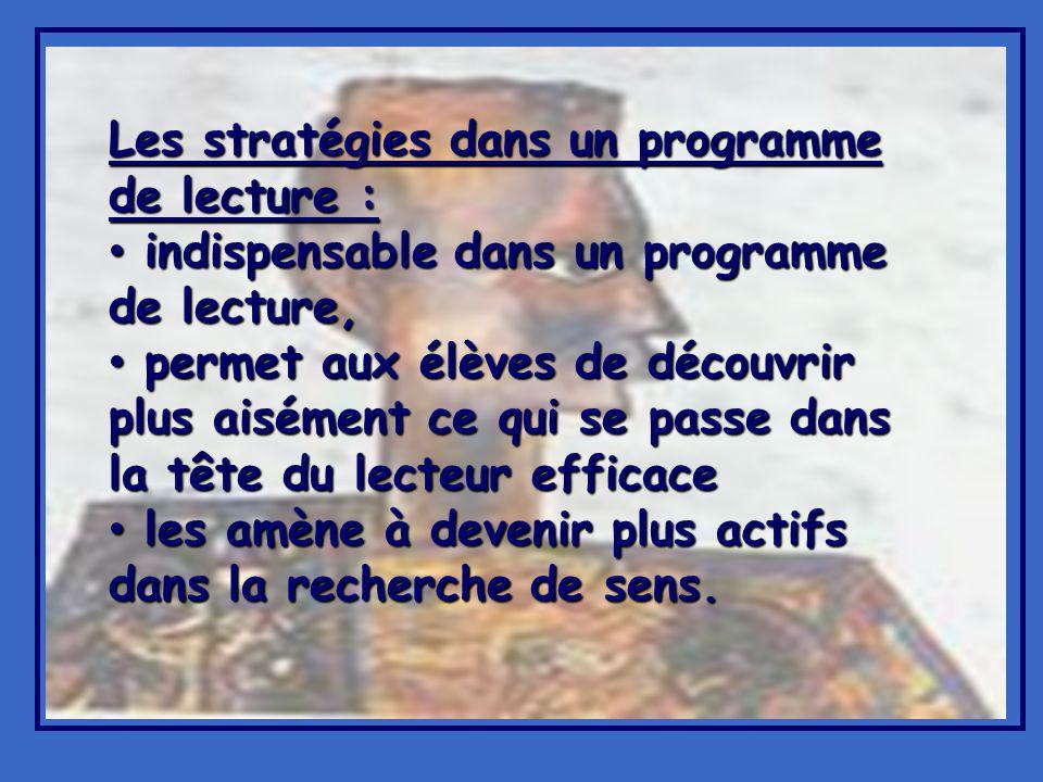 Les stratégies dans un programme de lecture :