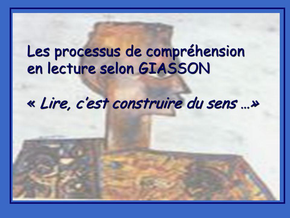 Les processus de compréhension en lecture selon GIASSON