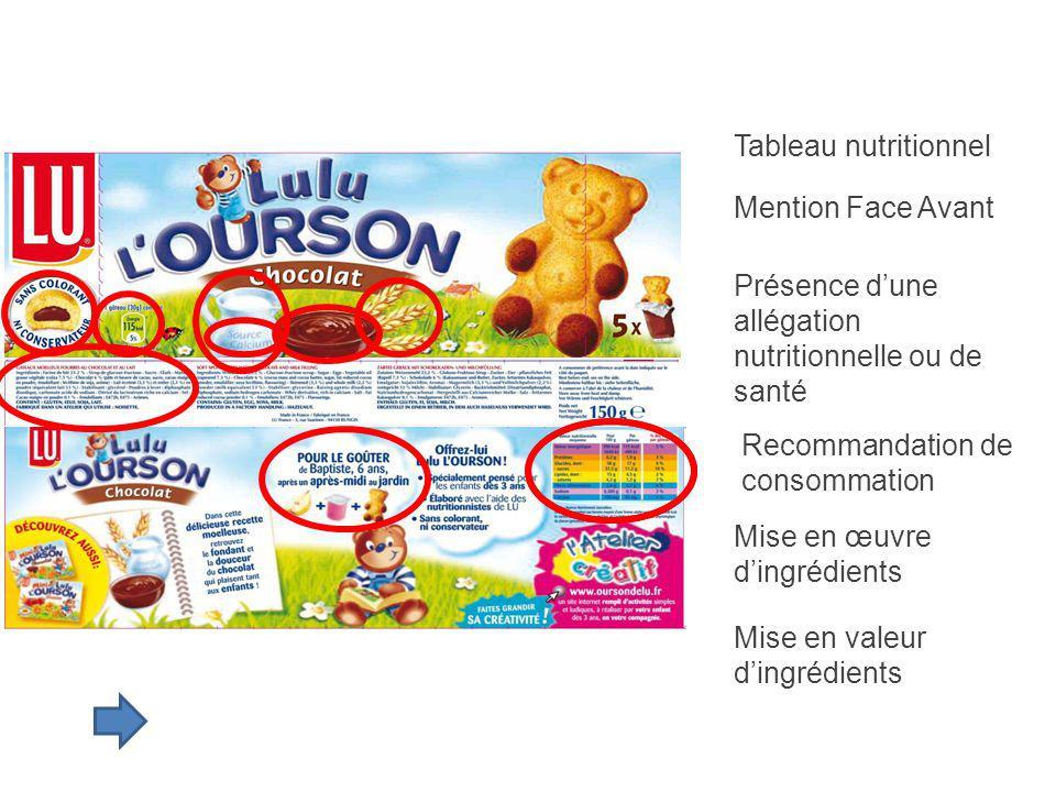 Tableau nutritionnel Mention Face Avant. Présence d'une allégation nutritionnelle ou de santé. Recommandation de consommation.