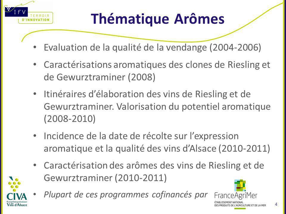 Thématique Arômes Evaluation de la qualité de la vendange (2004-2006)
