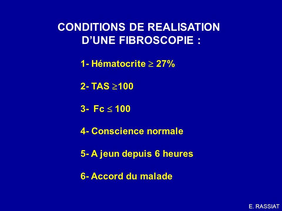 CONDITIONS DE REALISATION D'UNE FIBROSCOPIE :