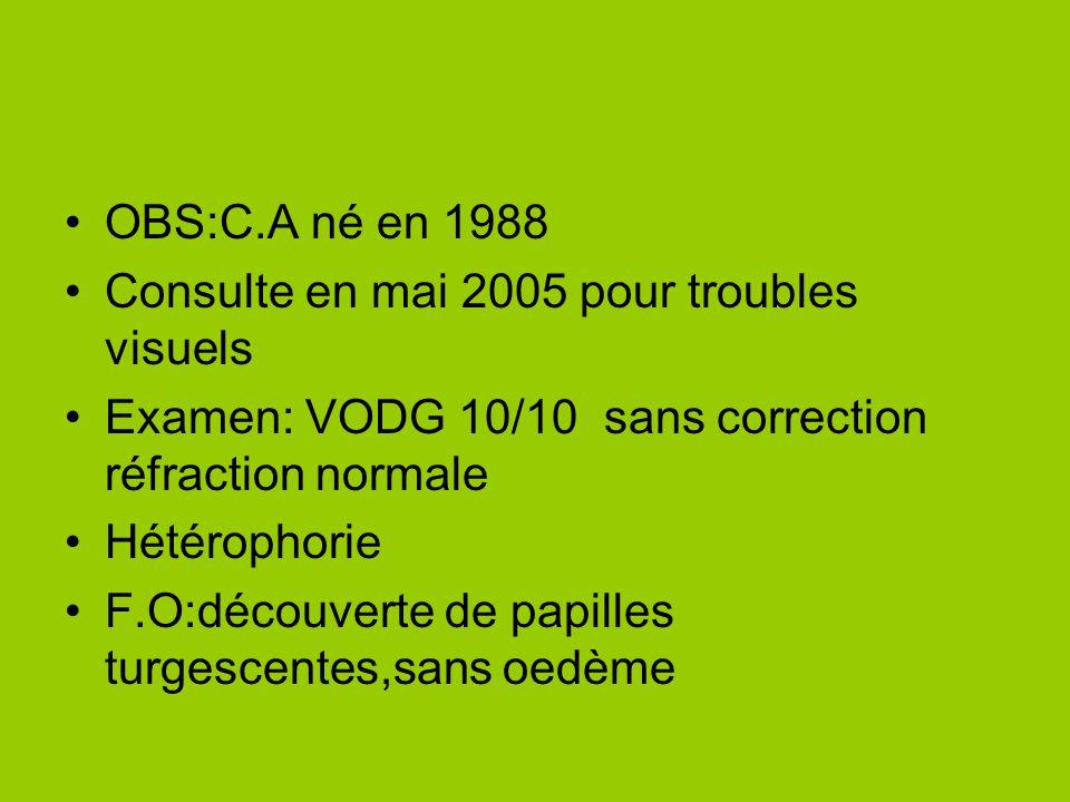 OBS:C.A né en 1988 Consulte en mai 2005 pour troubles visuels. Examen: VODG 10/10 sans correction réfraction normale.